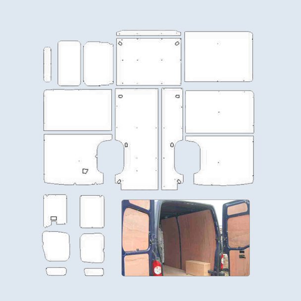 Ford transit custom van ply lining kit ford transit custom for Van ply lining templates