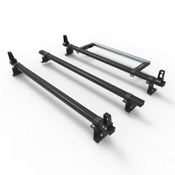Aluminium Volkswagen Caddy Roof Rack bars Dmar Stealth 3 bar load stops & roller 2010 Onward (DM72LS+A30)