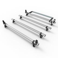 Ford Connect SWB 2014 On Aero-Pro 4 bar Aluminium roof rack load stops & roller (DM119LS+A30)