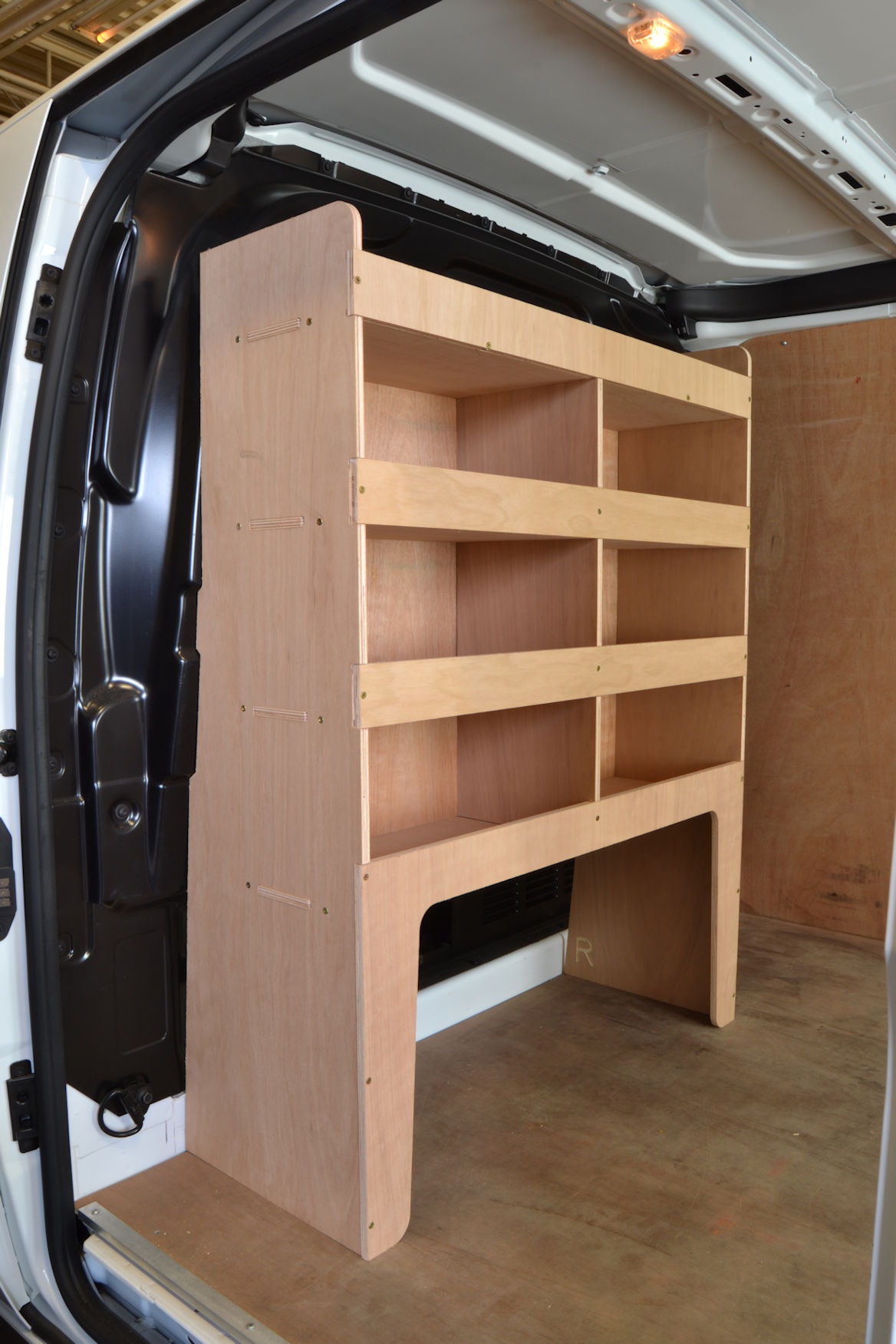 Transit Custom Plywood Bulkhead Van Racking Shelving