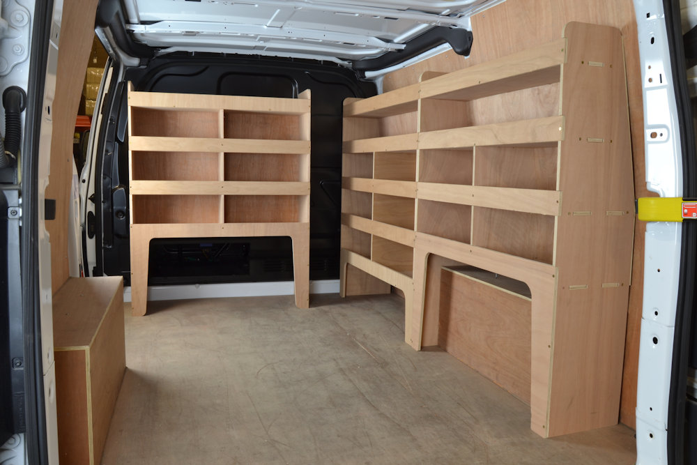 Transit Custom Plywood Offside Van Racking Shelving Unit